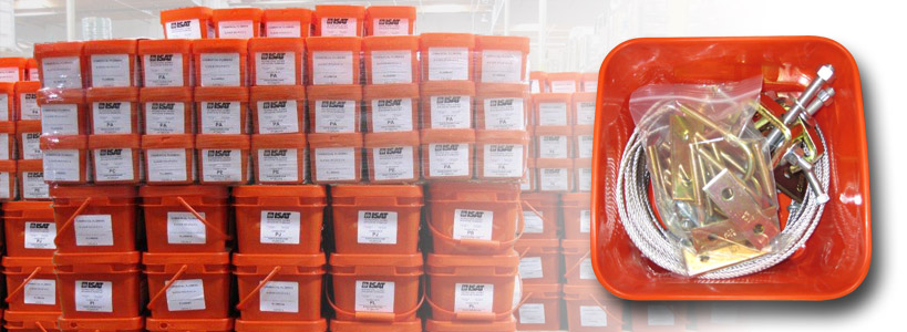 ISAT's orange bucket seismic bracing kits.